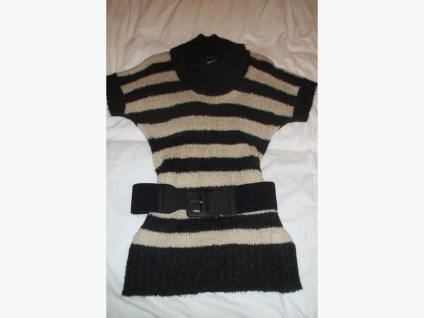 Ladies Papaya grey/cream striped jumper, size 16, brand new!!