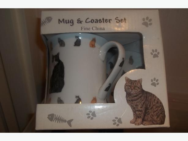 Fine china cat mug and coaster set - brand new!!!