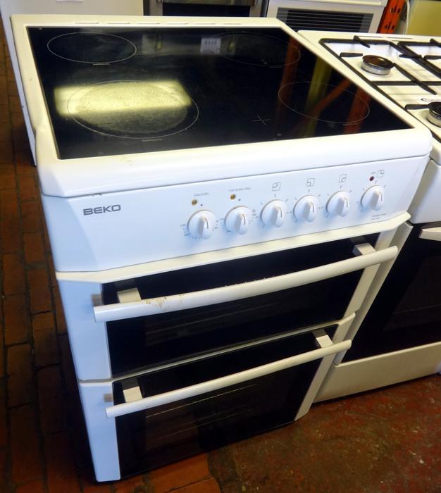 Beko 60cm White Electric Cooker Ceramic Hob Double Oven