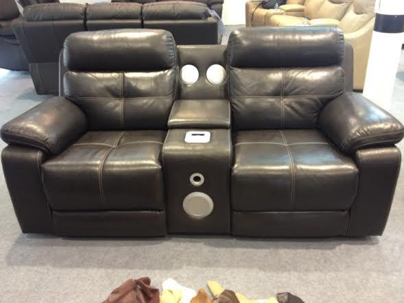 Recliner Audio Leather Sofa Set 3 2 Outside Black