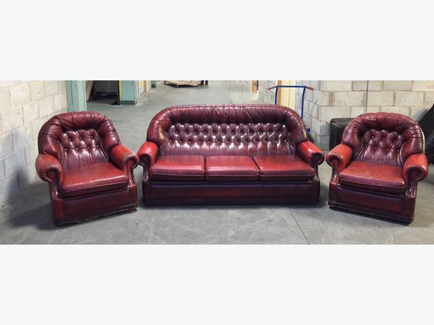 Chesterfield leather sofa oxblood refil sofa for Antikes sofa gebraucht