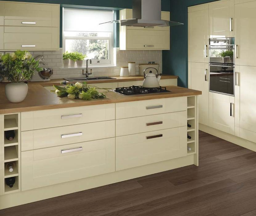7 piece kitchen units cream gloss shaker brand new for 300mm deep kitchen units