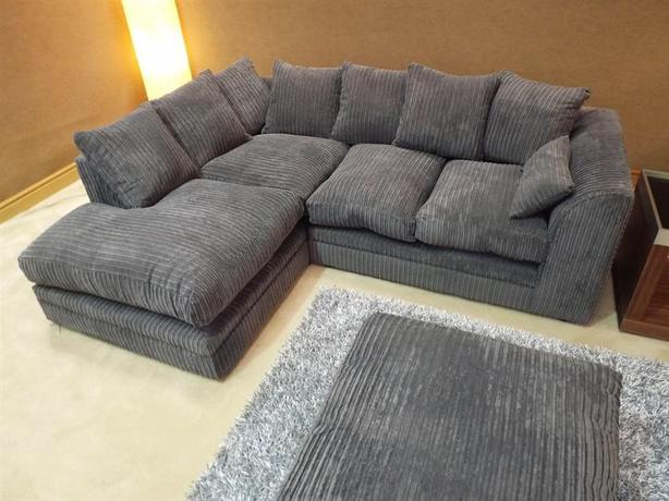 New Dylan Jumbo Cord Dark Grey Fabric Corner Group Sofa