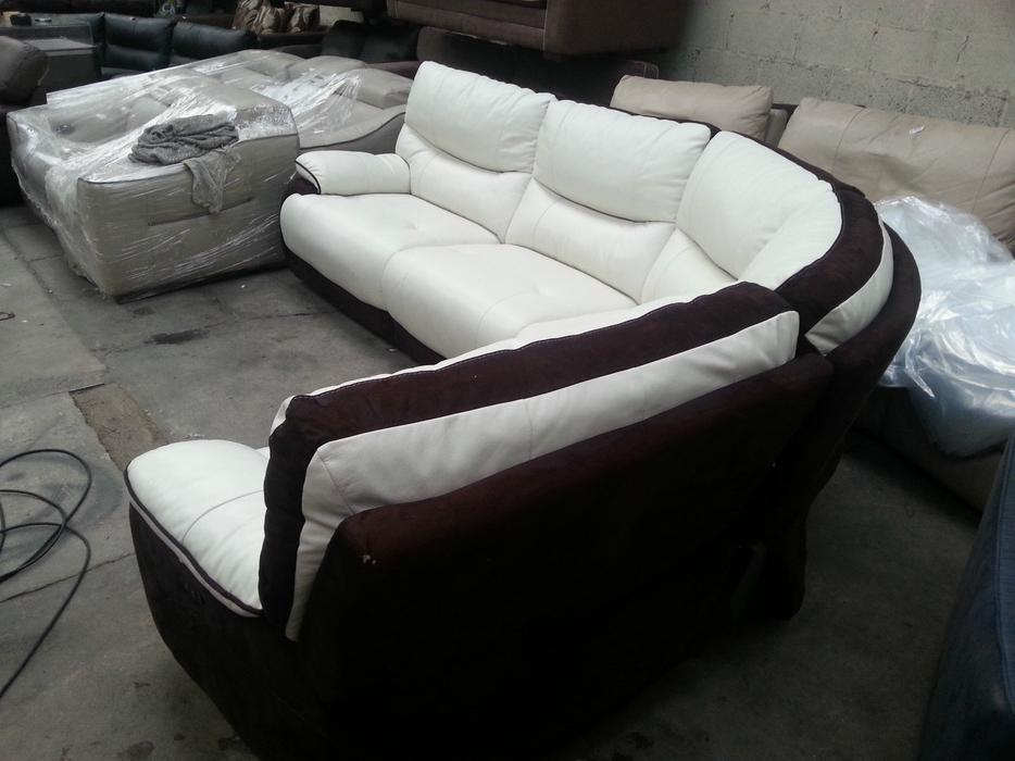 Verse white brown leather and suede electric recliner corner sofa rrp 2599 moseley birmingham - Sofa herbergt s werelds ...