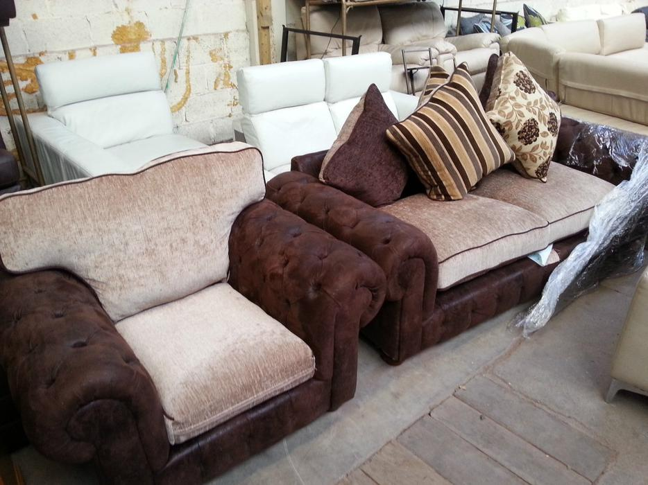 Customer retuerned fabric chesterfield 3 1 sofas moseley birmingham mobile - Sofa herbergt s werelds ...