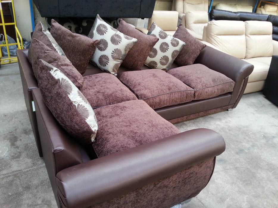 New Large Shannon Leather Amp Fabric Corner Sofa Suite In Brown Or Black And Grey Moseley Birmingham