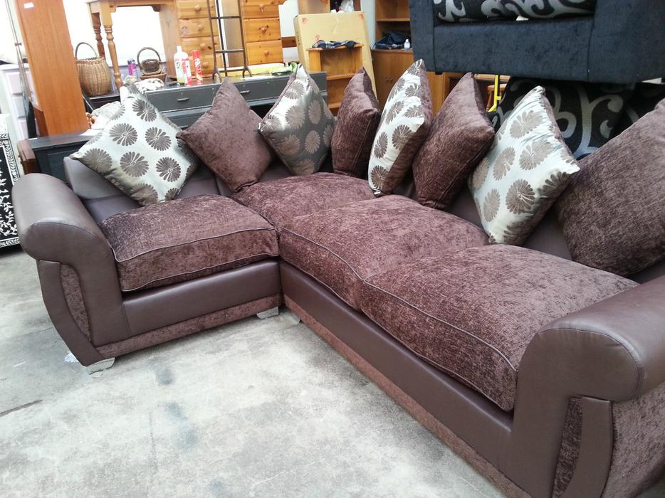 New Large Shannon Leather Amp Fabric Corner Sofa Suite In