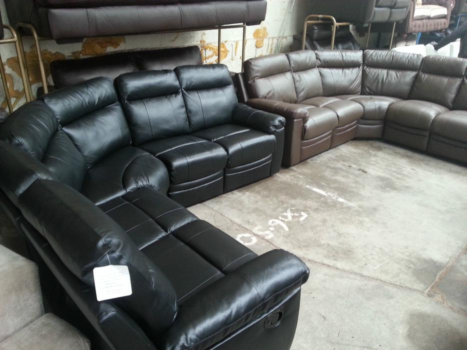 Argos Paulo Black Real Leather Recliner Corner Sofa