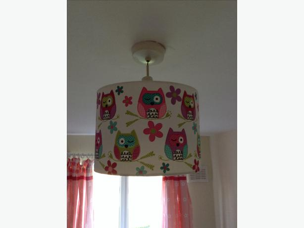 Chad valley owl girls bedroom curtains, rug , toy box , light ...