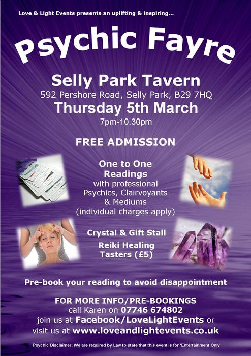 Psychic Fayre At The Selly Park Tavern On 5th March