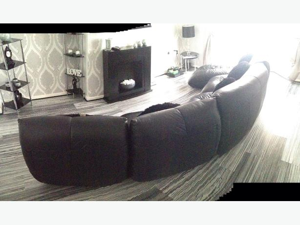 5piece real leather curved sofa bilston walsall for Curved leather sectional sofa uk