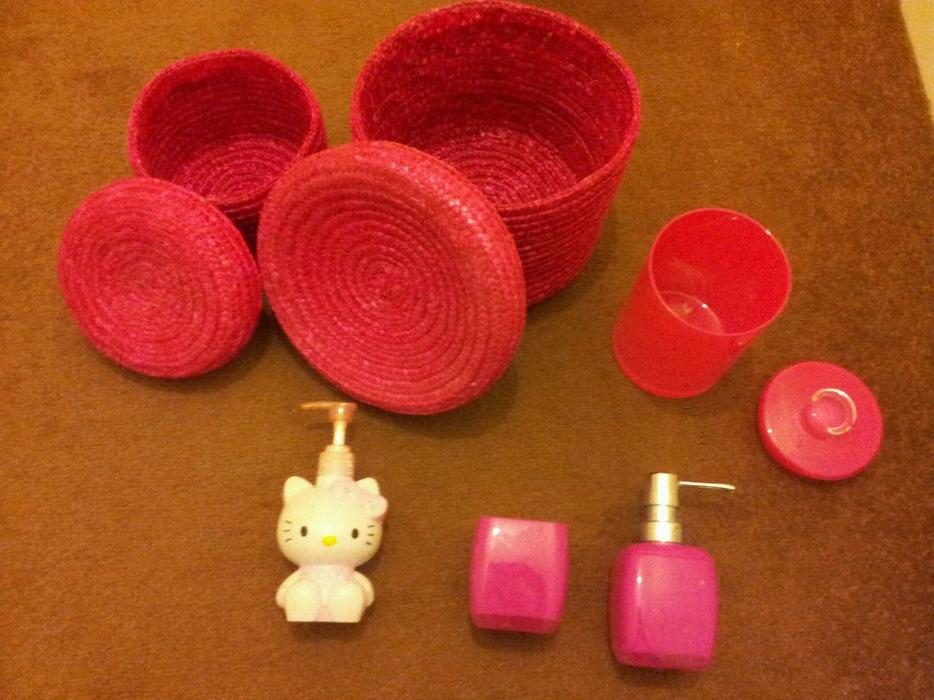 Hot Pink Bathroom Accessories Soap Dispensers Storage Baskets Large Jar Next