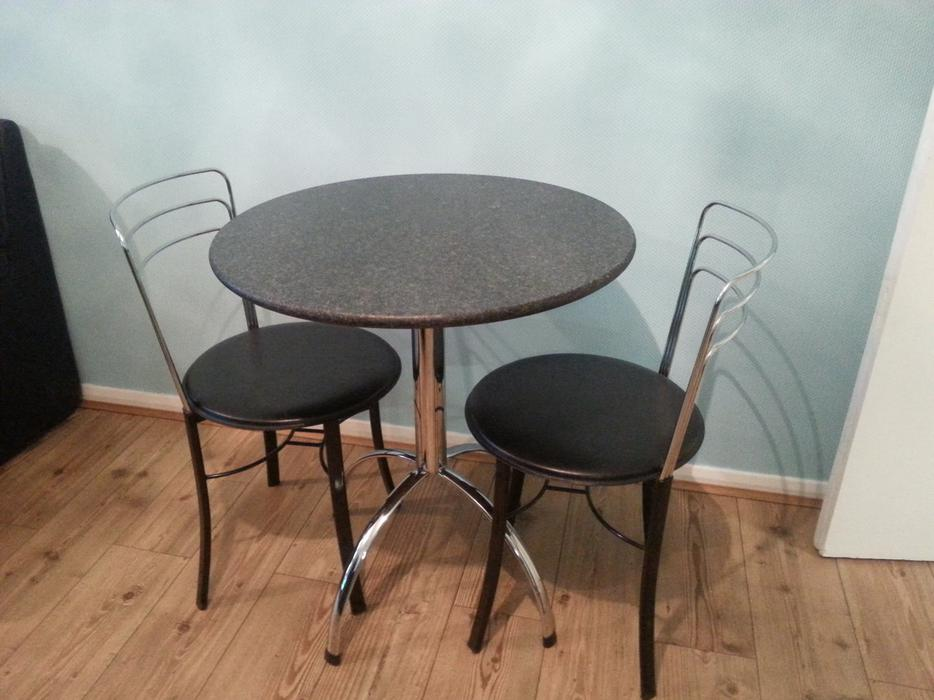 Black Granite Amp Chrome Bistro Style Dinig Table Amp 2 Chairs