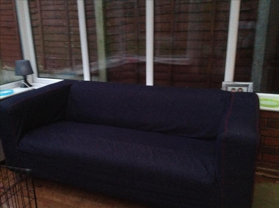 ikea klippan sofa with denim cover dudley wolverhampton. Black Bedroom Furniture Sets. Home Design Ideas
