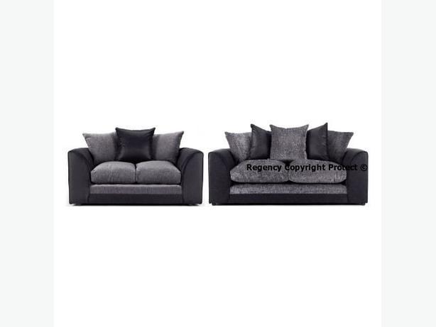New Holly Sofa Suite 3+2 Seater Set In Black U0026 Grey Or Brown U0026