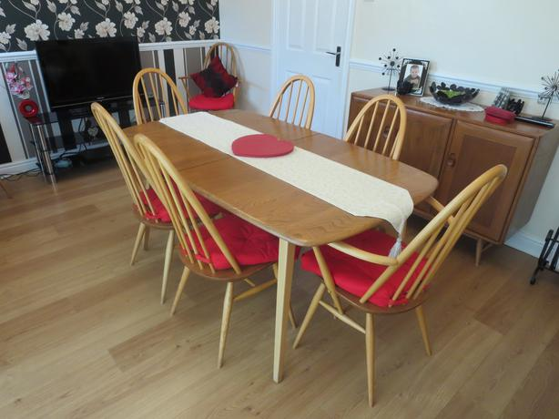 Ercol Windsor Collection Teak Dining Room Table and 8  : 103953235614 from www.usedsandwell.co.uk size 614 x 460 jpeg 39kB