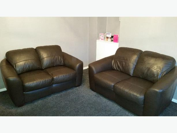 2x2 brown leather sofas sandwell wolverhampton. Black Bedroom Furniture Sets. Home Design Ideas
