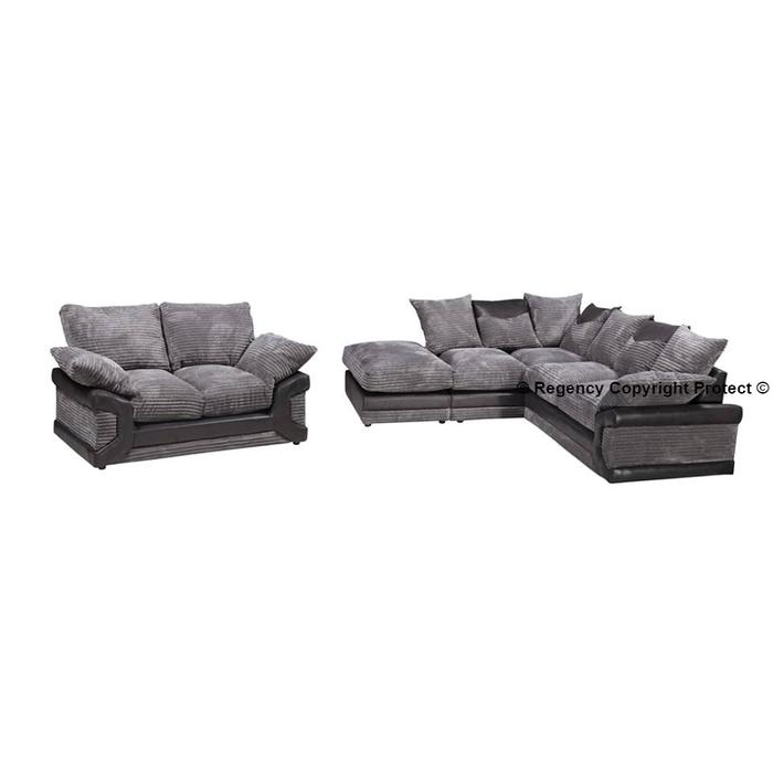 Sofa For Sale In Wolverhampton: New Baylee Corner Sofa Suite + 2 Seater In Grey Jumbo Cord