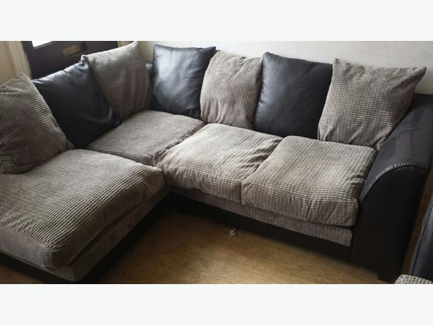 Black Suede And Grey Fabric Corner Sofa Two Seater Poof