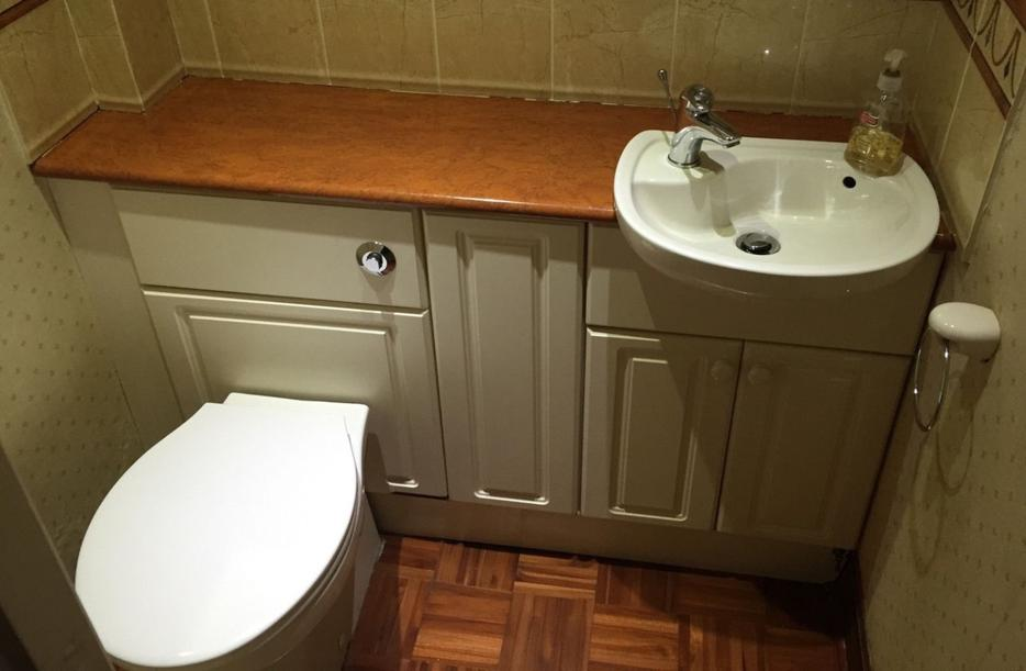 Vanity toilet and sink units cloakroom suite white small downstairs bathroom kingswinford dudley Used bathroom vanity with sink