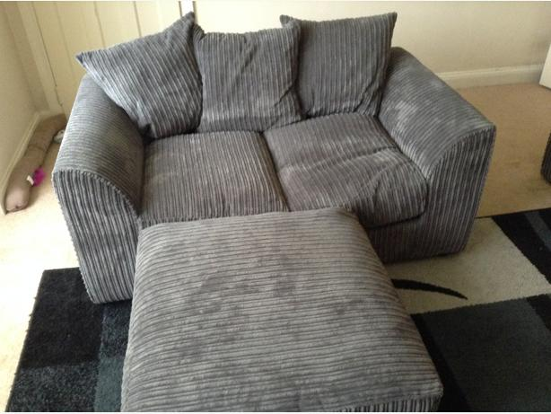jumbo cord grey 3 and 2 seater sofa and footstool