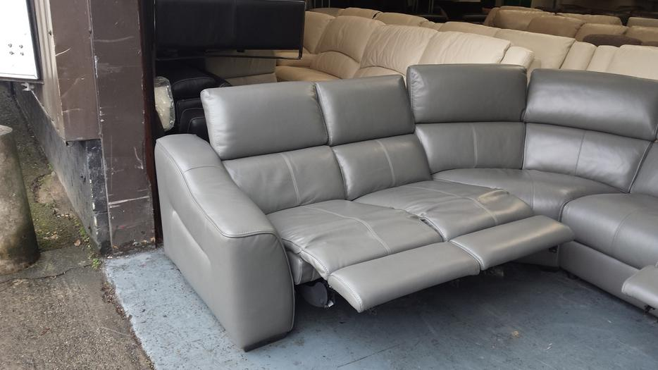 Ex Display Elixir Elephant Grey Leather Electric Recliner