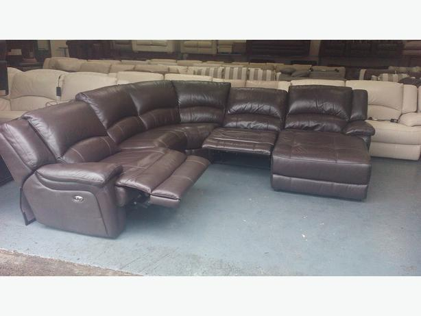 Ronson brown leather electric recliner corner sofa with for Brown leather chaise end sofa