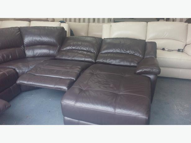 Ronson Brown Leather Electric Recliner Corner Sofa With