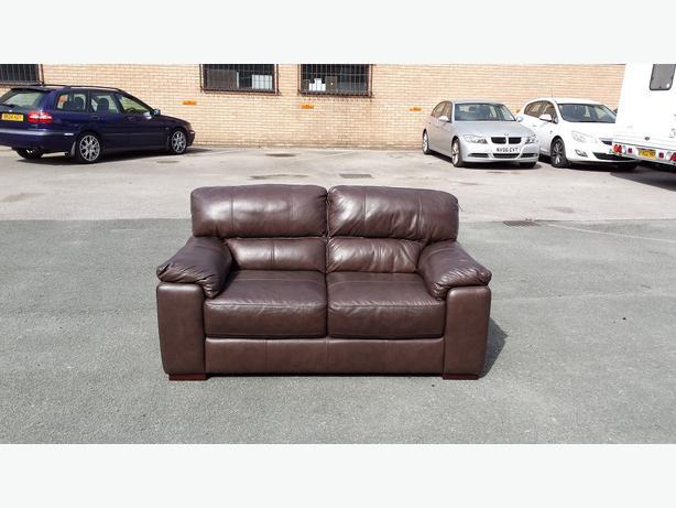 New Italian Violino brown leather 2 seater sofa Outside Birmingham