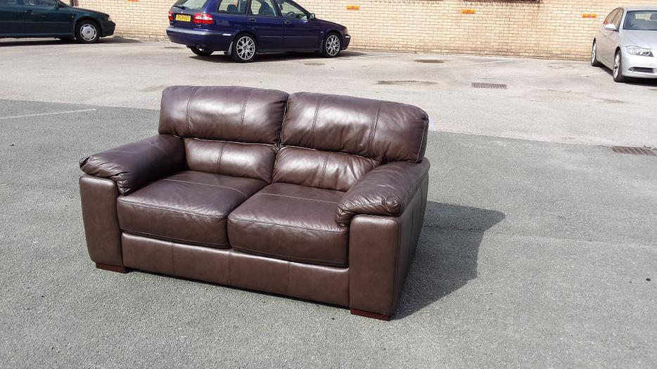 New Italian Violino Brown Leather 2 Seater Sofa Outside