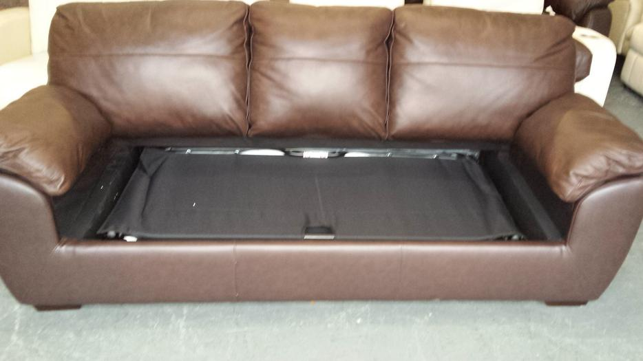 Ex Display Alberta Brown Leather 3 Seater Sofa Bed Outside