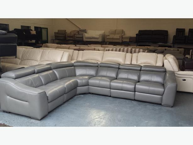 Log In needed £1,999 · Ex-display Elixir elephant grey leather electric  recliner corner sofa
