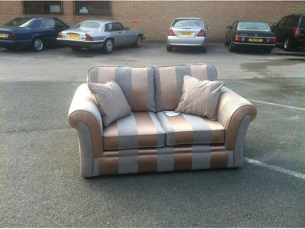 Ex Display Downton Gold Striped Designer Fabric 2 Seater Sofa