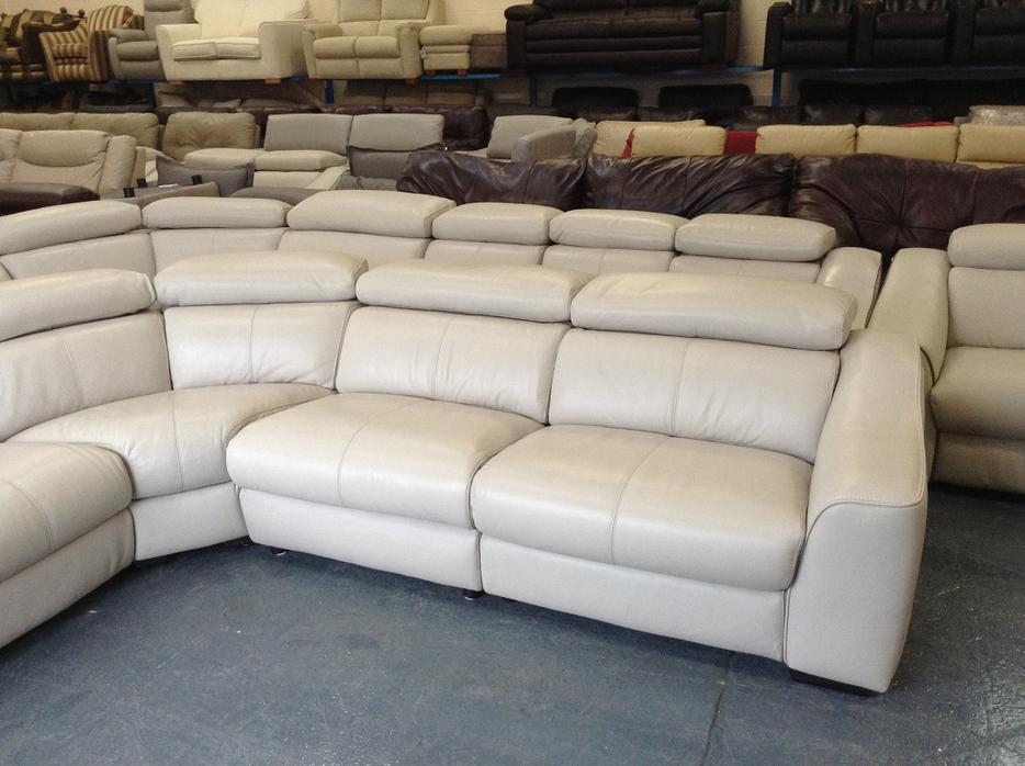 Ex Display Elixir Light Grey Static Leather Corner Sofa
