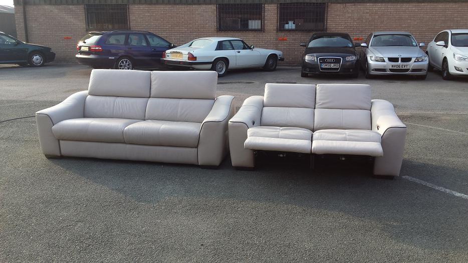 Elixir Light Grey Leather Standart 3 Seater Sofa Electric