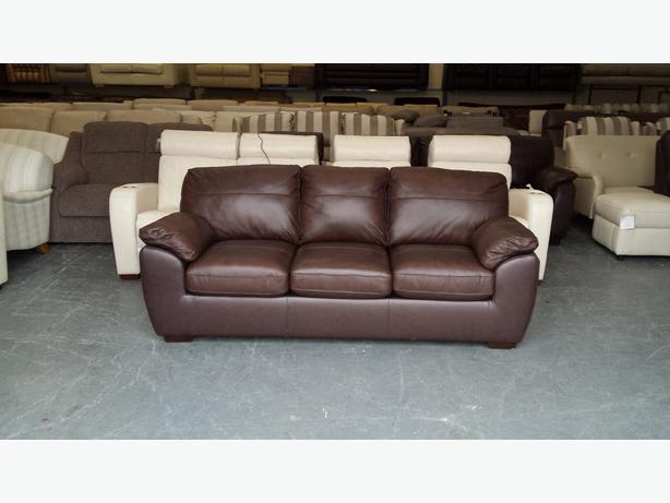 Ex display alberta brown leather 3 seater sofa bed outside for Sofa bed 3 seater
