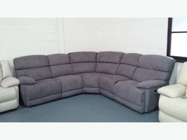 Ex-display Cupola grey fabric recliner corner sofa Outside Leeds ...