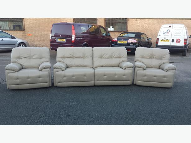 Ex Display Max Pebble Leather Electric Recliner 3 Seater