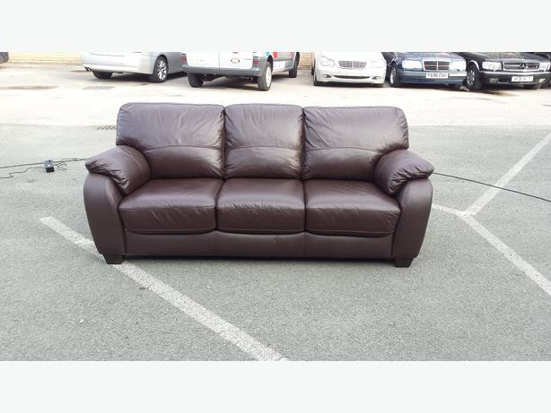 Ex Display Moods Brown Leather 3 Seater Sofa Bed Outside