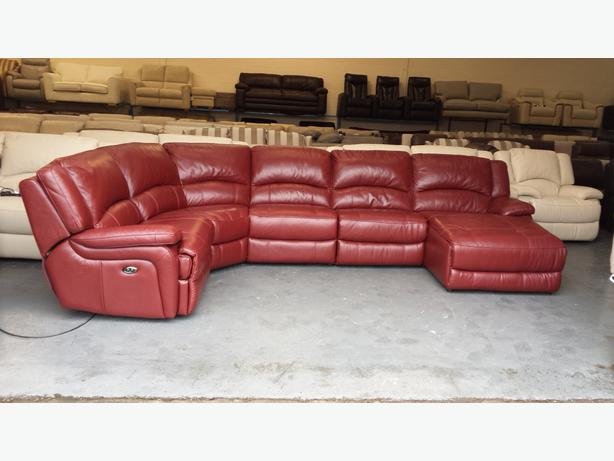 Ronson deep red leather electric recliner corner sofa with chaise lounge & Ronson deep red leather electric recliner corner sofa with chaise ... islam-shia.org