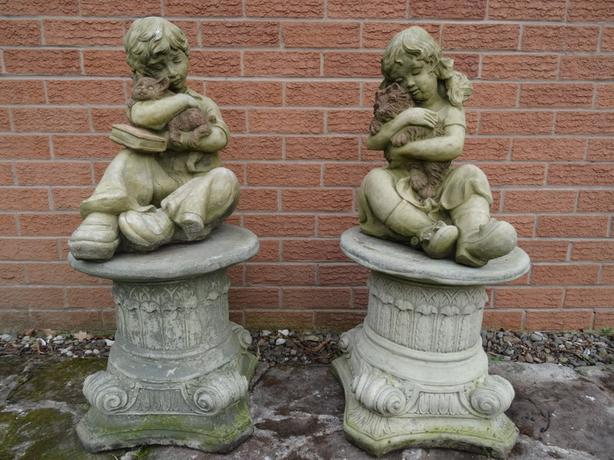 Stone Boy With Cat And Girl With Dog Garden Statue