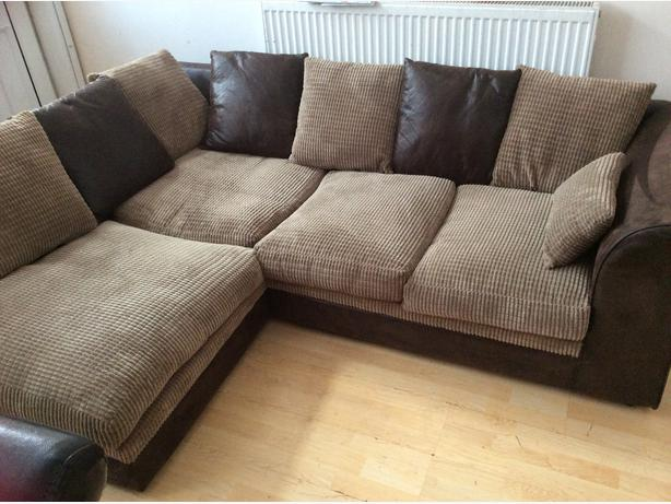 Brown Suede And Fabric Corner Sofa Poof Willenhall