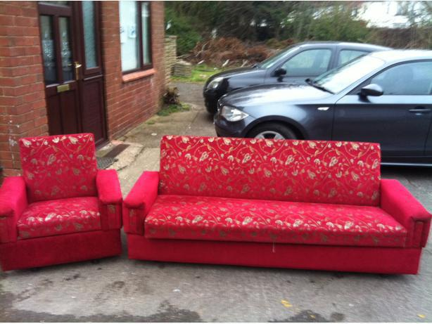 Red material 2 piece suite bed sofa bargin for Sofa bed 3 piece suite