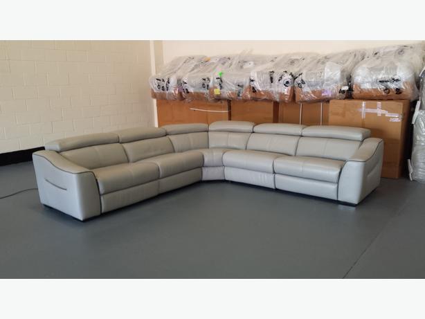 Elixir Grey Leather Electric Recliner Corner Sofa New