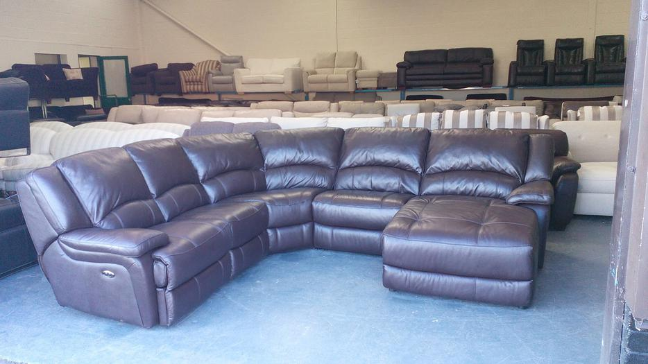 Ex display ronson brown leather electric recliner corner for Brown leather chaise end sofa