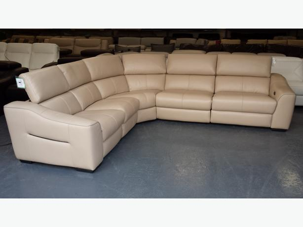 New Elixir Cream Leather Electric Recliner Corner Sofa Outside