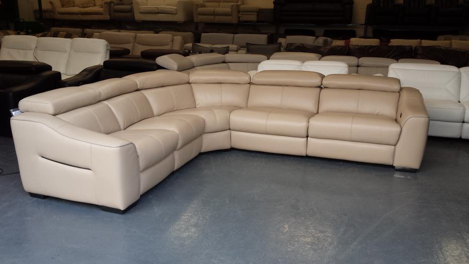 New Elixir Cream Leather Electric Recliner Corner Sofa