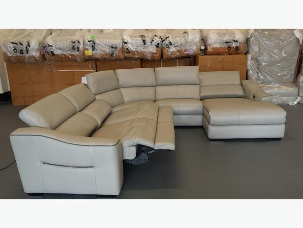 New Elixir Grey Leather Electric Recliner Corner Sofa With