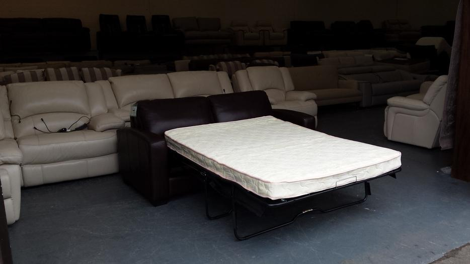 Ex-display Dante brown leather 2,5 seater sofa bed Outside ...