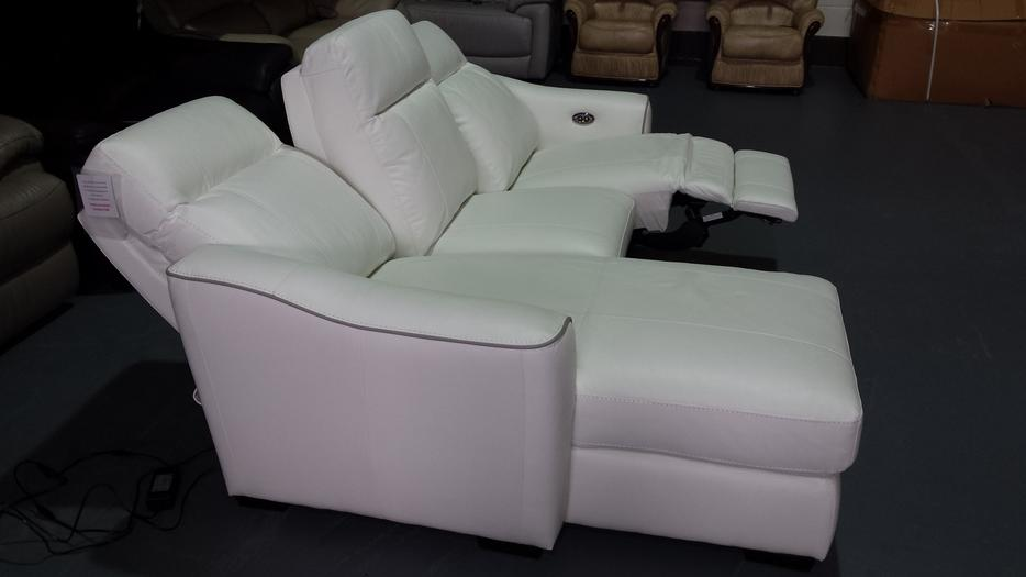 New Paloma Star White Leather Electric Recliner Corner